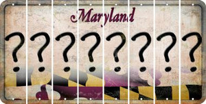 Maryland QUESTION MARK Cut License Plate Strips (Set of 8) LPS-MD1-047