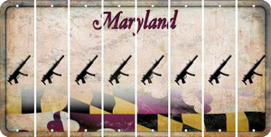 Maryland SUBMACHINE GUN Cut License Plate Strips (Set of 8) LPS-MD1-055
