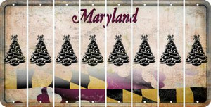 Maryland CHRISTMAS TREE Cut License Plate Strips (Set of 8) LPS-MD1-077