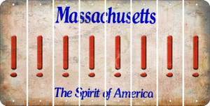 Massachusetts EXCLAMATION POINT Cut License Plate Strips (Set of 8) LPS-MA1-041