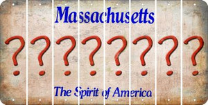 Massachusetts QUESTION MARK Cut License Plate Strips (Set of 8) LPS-MA1-047