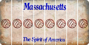 Massachusetts VOLLEYBALL Cut License Plate Strips (Set of 8) LPS-MA1-065