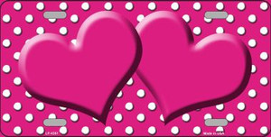 Pink White Polka Dot Center Hearts Wholesale Metal Novelty License Plate