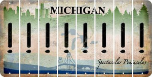 Michigan EXCLAMATION POINT Cut License Plate Strips (Set of 8) LPS-MI1-041