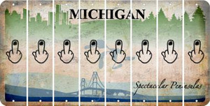 Michigan MIDDLE FINGER Cut License Plate Strips (Set of 8) LPS-MI1-091