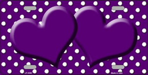 Purple White Polka Dot Center Hearts Wholesale Metal Novelty License Plate