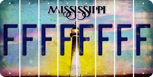 Mississippi F Cut License Plate Strips (Set of 8) LPS-MS1-006