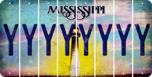 Mississippi Y Cut License Plate Strips (Set of 8) LPS-MS1-025