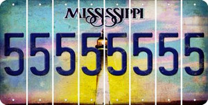 Mississippi 5 Cut License Plate Strips (Set of 8) LPS-MS1-032