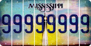 Mississippi 9 Cut License Plate Strips (Set of 8) LPS-MS1-036