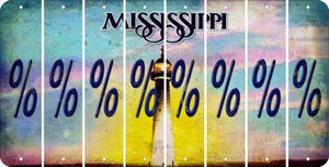 Mississippi PERCENT SIGN Cut License Plate Strips (Set of 8) LPS-MS1-046