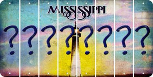 Mississippi QUESTION MARK Cut License Plate Strips (Set of 8) LPS-MS1-047