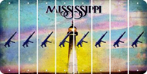Mississippi SUBMACHINE GUN Cut License Plate Strips (Set of 8) LPS-MS1-055