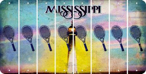 Mississippi TENNIS Cut License Plate Strips (Set of 8) LPS-MS1-064