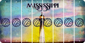 Mississippi VOLLEYBALL Cut License Plate Strips (Set of 8) LPS-MS1-065