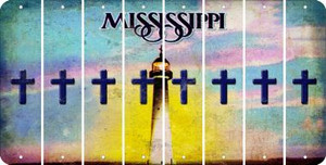 Mississippi CROSS Cut License Plate Strips (Set of 8) LPS-MS1-083