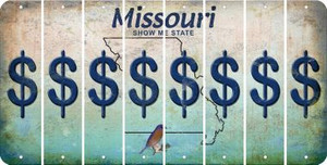 Missouri DOLLAR SIGN Cut License Plate Strips (Set of 8) LPS-MO1-040