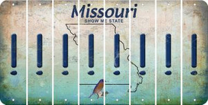 Missouri EXCLAMATION POINT Cut License Plate Strips (Set of 8) LPS-MO1-041
