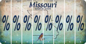 Missouri PERCENT SIGN Cut License Plate Strips (Set of 8) LPS-MO1-046