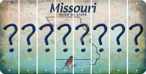 Missouri QUESTION MARK Cut License Plate Strips (Set of 8) LPS-MO1-047