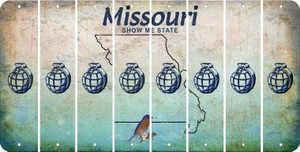 Missouri HAND GRENADE Cut License Plate Strips (Set of 8) LPS-MO1-050