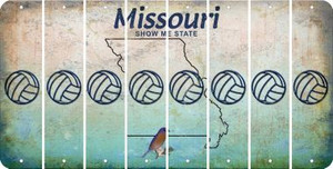 Missouri VOLLEYBALL Cut License Plate Strips (Set of 8) LPS-MO1-065