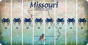 Missouri SNAKE Cut License Plate Strips (Set of 8) LPS-MO1-088