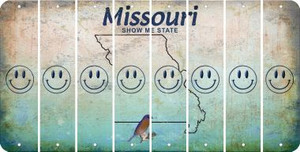 Missouri SMILEY FACE Cut License Plate Strips (Set of 8) LPS-MO1-089