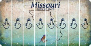 Missouri MIDDLE FINGER Cut License Plate Strips (Set of 8) LPS-MO1-091