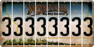 Montana 3 Cut License Plate Strips (Set of 8) LPS-MT1-030