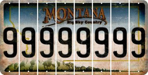 Montana 9 Cut License Plate Strips (Set of 8) LPS-MT1-036