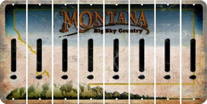 Montana EXCLAMATION POINT Cut License Plate Strips (Set of 8) LPS-MT1-041