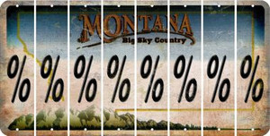 Montana PERCENT SIGN Cut License Plate Strips (Set of 8) LPS-MT1-046