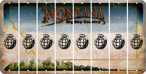 Montana HAND GRENADE Cut License Plate Strips (Set of 8) LPS-MT1-050