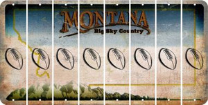 Montana FOOTBALL Cut License Plate Strips (Set of 8) LPS-MT1-060