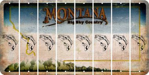 Montana FISH Cut License Plate Strips (Set of 8) LPS-MT1-086