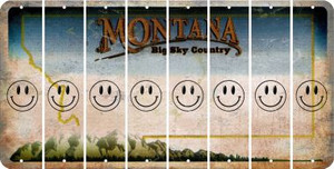 Montana SMILEY FACE Cut License Plate Strips (Set of 8) LPS-MT1-089