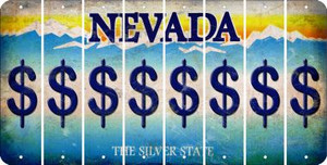 Nevada DOLLAR SIGN Cut License Plate Strips (Set of 8) LPS-NV1-040