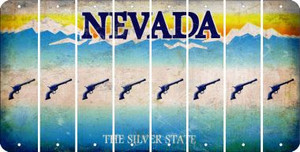 Nevada PISTOL Cut License Plate Strips (Set of 8) LPS-NV1-053