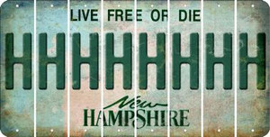 New Hampshire H Cut License Plate Strips (Set of 8) LPS-NH1-008