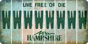 New Hampshire W Cut License Plate Strips (Set of 8) LPS-NH1-023