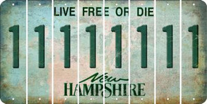 New Hampshire 1 Cut License Plate Strips (Set of 8) LPS-NH1-028