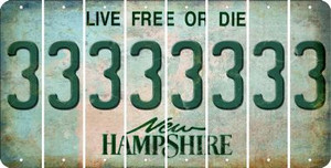 New Hampshire 3 Cut License Plate Strips (Set of 8) LPS-NH1-030
