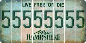 New Hampshire 5 Cut License Plate Strips (Set of 8) LPS-NH1-032