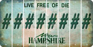 New Hampshire HASHTAG Cut License Plate Strips (Set of 8) LPS-NH1-043