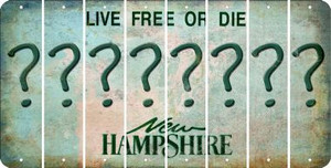 New Hampshire QUESTION MARK Cut License Plate Strips (Set of 8) LPS-NH1-047