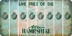 New Hampshire HAND GRENADE Cut License Plate Strips (Set of 8) LPS-NH1-050