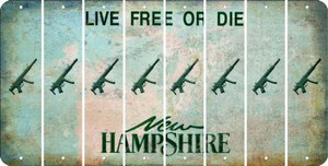 New Hampshire SUBMACHINE GUN Cut License Plate Strips (Set of 8) LPS-NH1-055