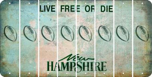 New Hampshire FOOTBALL Cut License Plate Strips (Set of 8) LPS-NH1-060
