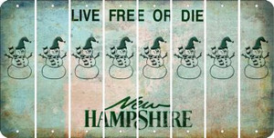 New Hampshire SNOWMAN Cut License Plate Strips (Set of 8) LPS-NH1-079